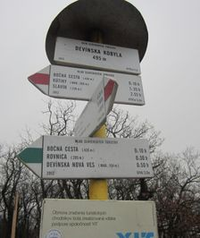 Turistický smerovník Devínska Kobyla