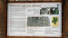 Historický nápis pod Kesslom - detail informačnej tabule
